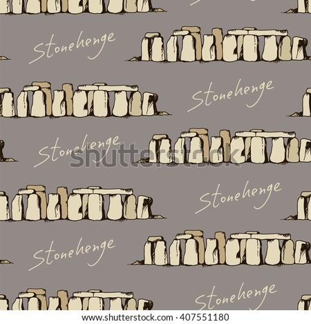 Stonehenge illustration pattern, seamless doodle background with landmark drawing - stock vector