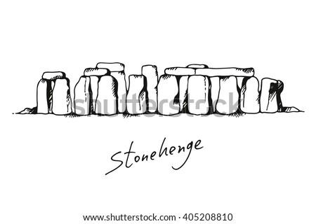 Stonehenge in United Kingdom vector illustration on white background, hand drawn landmark - stock vector
