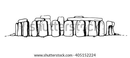 Stonehenge vector illustration, hand drawn United Kingdom landmark isolated on white background - stock vector