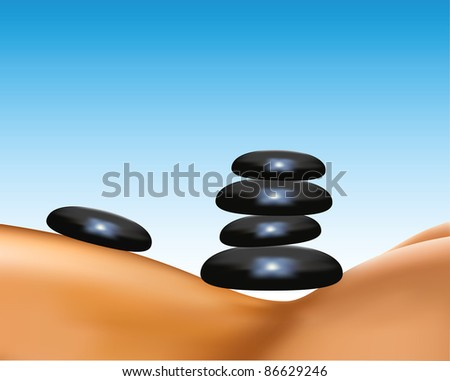 Stones. Spa salon massage hot mineral stone treatment