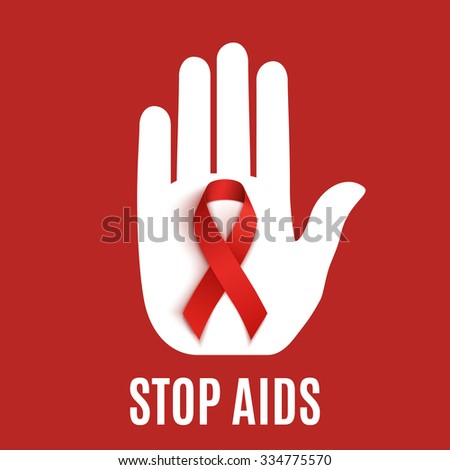 Stop AIDS background with hand and red ribbon. Vector illustration. - stock vector