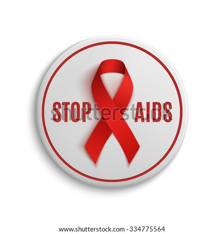 Stop AIDS white badge with red ribbon. Vector illustration. - stock vector