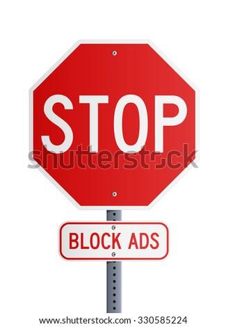 Stop - Block Ads - stock vector