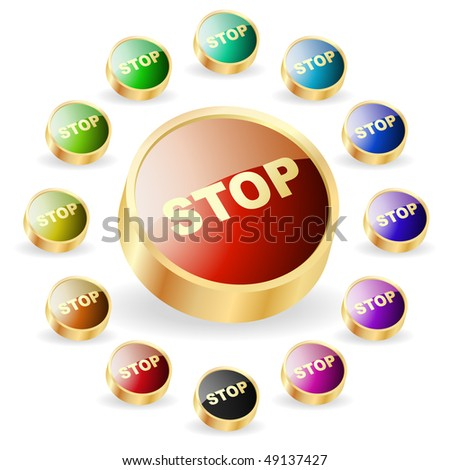 Stop button. Vector set for web.