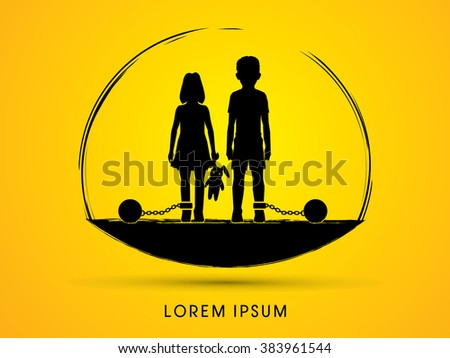 Stop Child abuse ,Children with chain and ball designed graphic vector. - stock vector