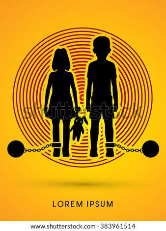 Stop Child abuse ,Children with chain and ball designed on light circle background graphic vector. - stock vector