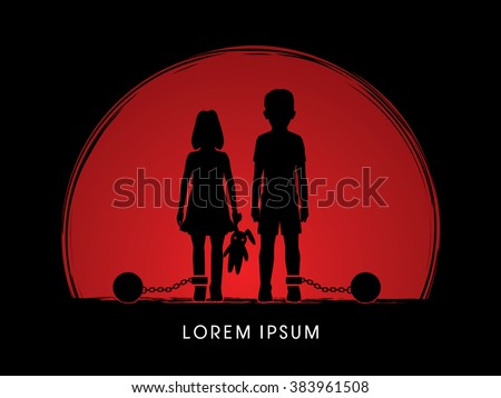 Stop Child abuse ,Children with chain and ball designed on sunset background graphic vector. - stock vector