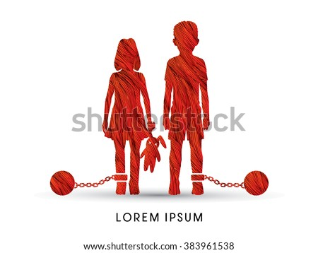 Stop Child abuse ,Children with chain and ball designed using colorful pixels graphic vector. - stock vector