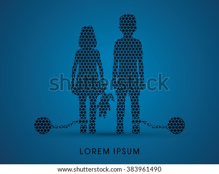 Stop Child abuse ,Children with chain and ball designed using line geometric pattern graphic vector. - stock vector