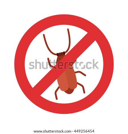 Stop cockroach flat icon - stock vector