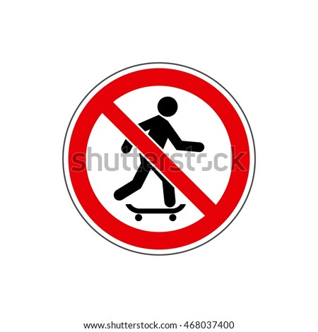 STOP! Do not ride a skateboard. Vector. The icon with a green contour on a white background. For any use. Warns.