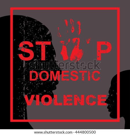Stop domestic violence against women concept. Vector illustration - stock vector