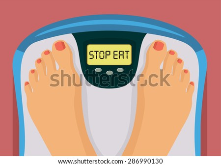 Stop eat vector flat illustration - stock vector