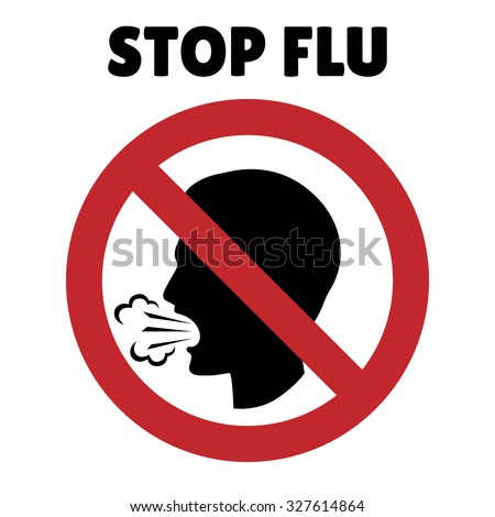 Stop flu sign. Coughing man in prohibition frame. Illness and alert, forbidden and danger, ban and protection, vector illustration - stock vector