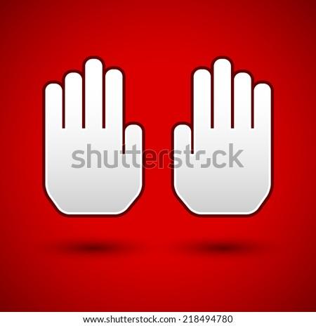 Stop hand gesture. Stop background. (palms) Restrict, forbid. - stock vector