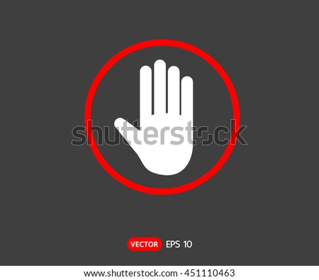 Stop hand octagonal sign for prohibited activities, logo Vector illustration