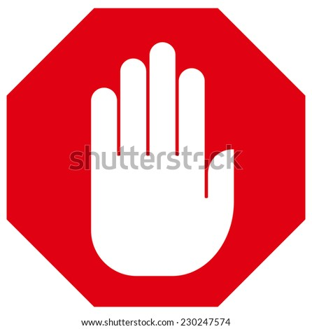 Stop hand sign - stock vector