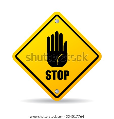 Stop hand sign isolated on white background - stock vector
