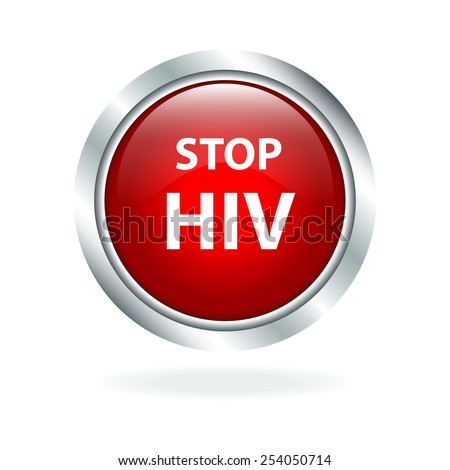 Stop HIV red glossy button for web design - stock vector