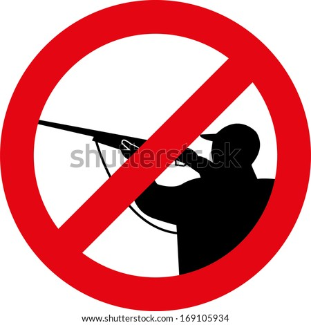 Stop hunting sign - stock vector