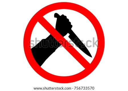 STOP KNIVES sign. Silhouette of human hand with killing knife in red circle. Vector.