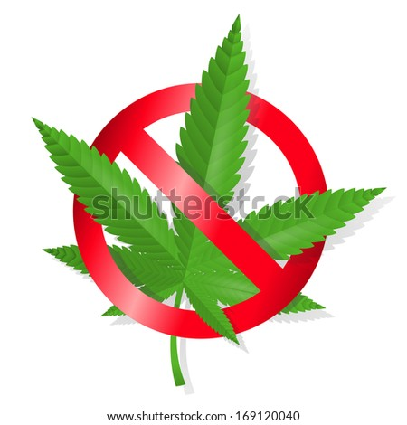 Stop marijuana sign isolated vector illustration. Editable EPS and Render in JPG format - stock vector
