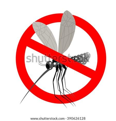 Stop mosquito. Forbidden Zika virus. Frozen mosquito insect. Emblem against virus Zika. Emblem against malaria. Red forbidding character. Ban flying Bloodsucker insect mosquito - stock vector