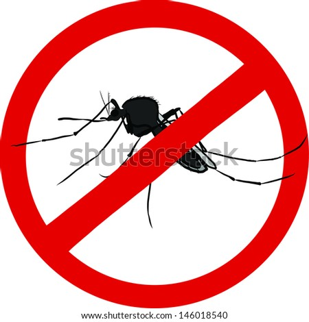 stop mosquito sign (insect repellent emblem ) - stock vector