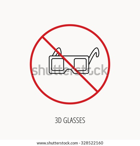 Stop or ban sign. 3D glasses icon. Cinema technology sign. Vision effect symbol. Prohibition red symbol. Vector - stock vector