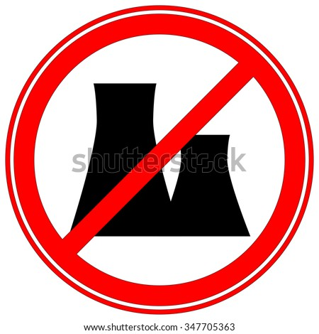 Stop Pollution Icon Sign. Silhouette of the Plant. Vector Illustration