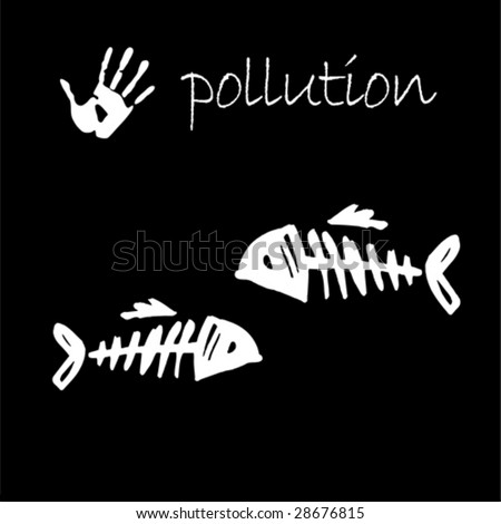 stop pollution square sign shape - stock vector