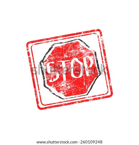 STOP red grunge rubber stamp vector illustration - stock vector