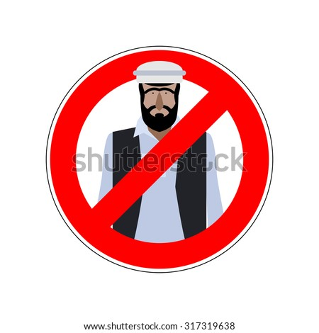 Stop refugees. Emigrants passage prohibited. Prohibiting sign for expatriates. Vector red ban sign for Europe.
