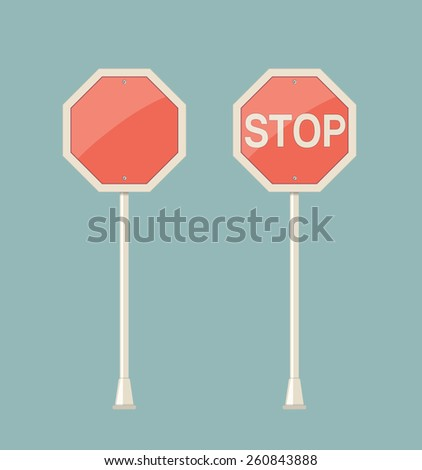stop road sign - stock vector
