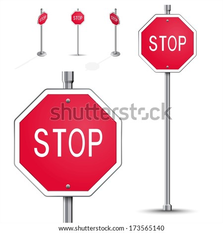 Stop road sign high detailed and isometric - stock vector