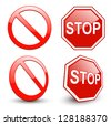 Stop sign, forbidden circle symbol. - stock vector