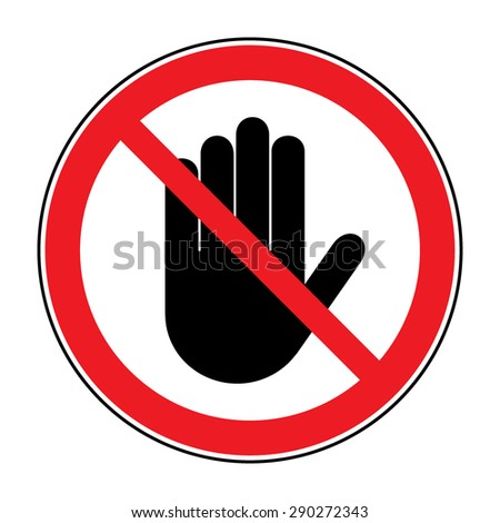 Stop Sign No Entry Black Hand Stock Vector Hd Royalty Free