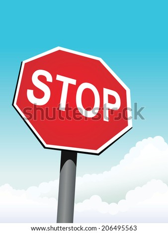 stop sign on sky background vector illustration