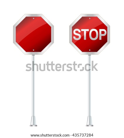 stop sign on white vector illustration - stock vector