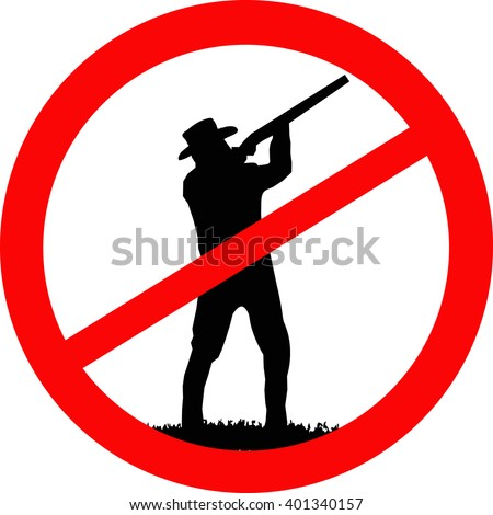stop sign. silhouette of a hunter on a white background. concept background.