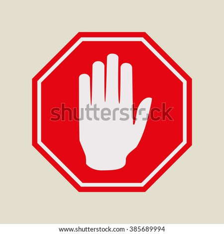 Stop sign, traffic sign. Hand sign. Vector illustration.