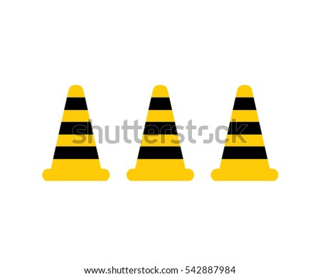 Stop signal road black and yellow cones. vector illustration.