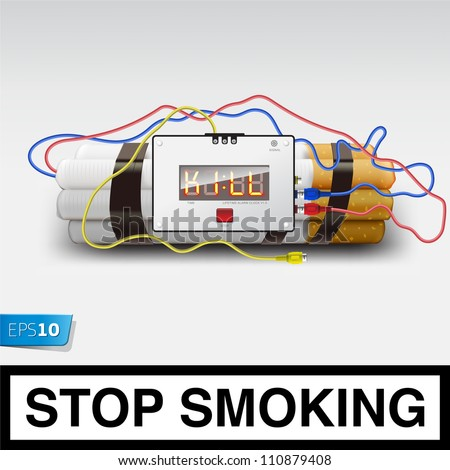 Stop smoking - cigarette bomb, vector Eps10 illustration. - stock vector
