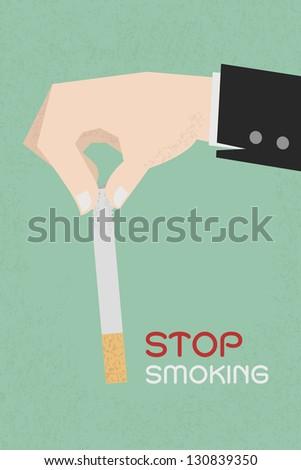 Stop smoking, human hands breaking the cigarette  , eps10 vector format - stock vector