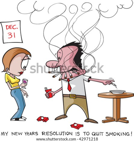 Stop smoking resolution. A layered vector cartoon. Man, woman,smoke,table,words and ash tray are all on separate layers.