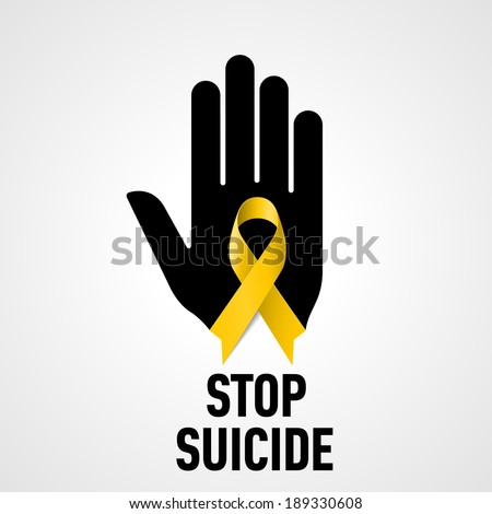 Stop Suicide sign.  Black hand with yellow ribbon on white background - stock vector