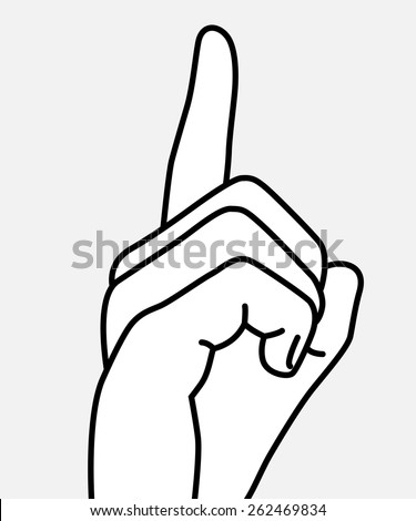 stop talking, finger up, isolated vector illustration on a white background