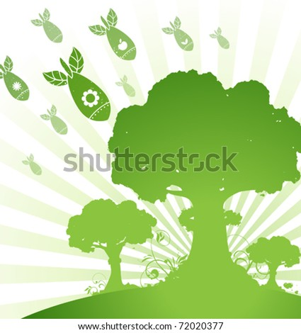 Stop Wars, Plant Trees - stock vector