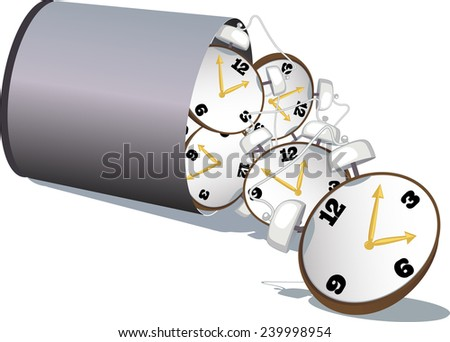 Stop wasting time. A garbage bin filled with alarm clock tipped over, vector illustration - stock vector