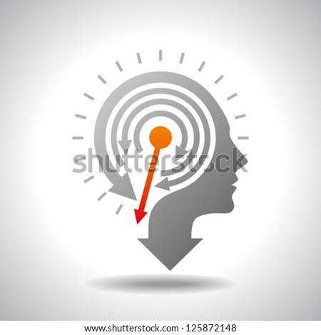 Stop Watch in Human Head - Conceptual Vector - stock vector